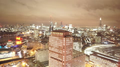 The citylights of London from above great aerial shot Stock Footage