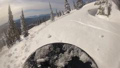 Snowboarding on fresh snow: view from the board, slow motion Stock Footage