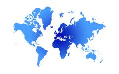 Blue and white Illustrated world map with white background - stock photo