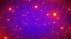 Red Glowing Spheres Stars on Blue Background Starfield Loop 1 rotate left Stock Footage