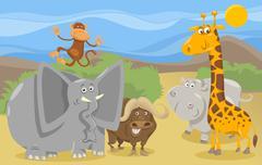 Stock Illustration of safari animals group cartoon illustration