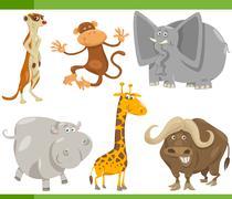 Stock Illustration of safari animals cartoon set illustration