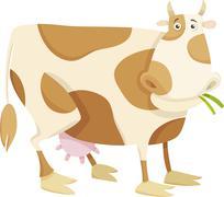 cow farm animal cartoon illustration - stock illustration