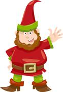 gnome or dwarf cartoon illustration - stock illustration