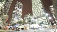 Stock Video Footage of Amazing Canary Wharf street view by night