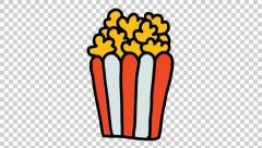 Popcorn animation with transparent background Stock Footage