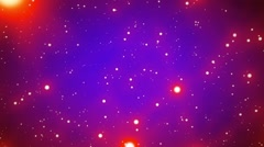 Red Glowing Spheres Stars on Blue Background Starfield Loop 1 rotate right Stock Footage