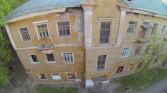 Facade of old house at spring day. Aerial view. Stock Footage