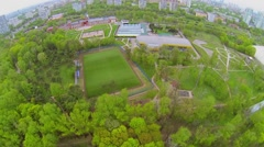 Several fields and playgrounds near Palace of Children and Youth Stock Footage