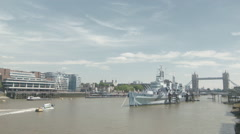 A quick Time-lapse of HMS Belfast in London Stock Footage