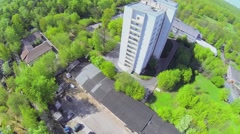 Medical education center with dorm among trees Stock Footage