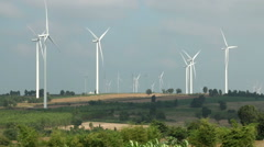 Wind turbines farm, generating electricity. Stock Footage