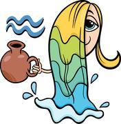 aquarius zodiac sign cartoon - stock illustration