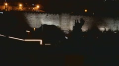 Wall of old city at the night  . Jerusalem. - stock footage