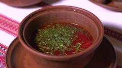 Ukrainian cuisine borscht with sour cream Stock Footage