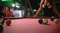 Young smiling thai women play pool table in the pub. HD. 1920x1080 Stock Footage