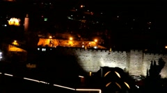 David tower and Wall of old city at the night  . Jerusalem. - stock footage