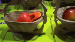 Wooden handmade baskets for fruits on thai night market. HD. 1920x1080 Stock Footage