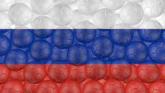 4K Soccer balls is falling down on a white and forming a russia flag - stock footage