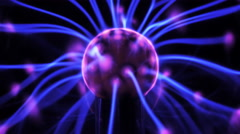 4K Plasma ball with moving energy rays inside on black background - stock footage