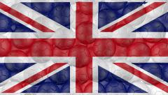 4K Soccer balls is falling down on a white and forming a great britain flag Stock Footage