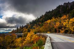 autumn color and linn cove viaduct, on the blue ridge parkway, north carolina - stock photo