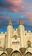 Pope palace in Avignon , France. Architectural detail of the tow Stock Photos