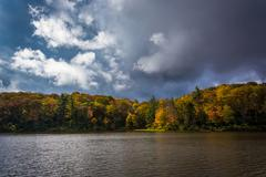 autumn color at the trout lake at moses h. cone park, on the blue ridge parkw - stock photo