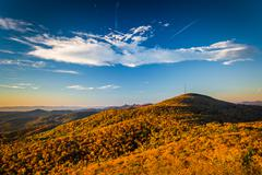Autumn morning view from beacon heights, along the blue ridge parkway, north  Stock Photos