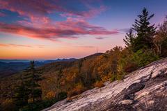 autumn sunrise from beacon heights, on the blue ridge parkway, north carolina - stock photo
