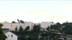 Wall of old city early morning . Jerusalem. Israel - stock footage