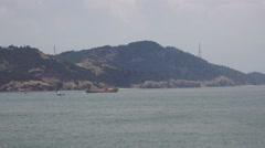 Boats Off The Shore Of Japanese Island Naoshima Japan 4K Stock Footage