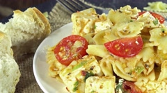 Rotating pasta salad (not loopable) Stock Footage