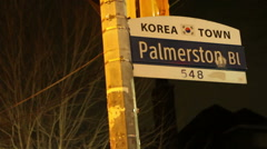 Korea Town Sign at Bloor St. Toronto Stock Footage
