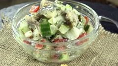 Fresh made herring salad (not loopable) Stock Footage