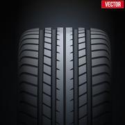 Realistic rubber tires banner. Vector Illustration Stock Illustration