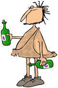 Caveman wine connoisseur - stock illustration