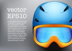 Background of Classic Ski helmet and orange snowboard goggles. Vector isolated Piirros