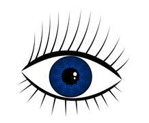 Navy-blue eye illustration. mysterious woman Stock Illustration