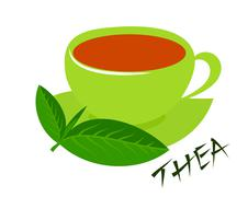 A green cup of tea with fresh tea leaves and thea caption. five o'clock Stock Illustration