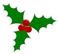 symbolic christmas holly berry vector illustration - stock illustration