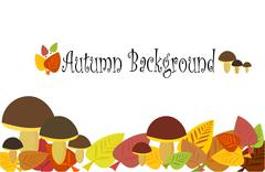 Autumnal background with mushrooms and leaves Stock Illustration