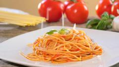 Spaghetti with parmesan cheese and tomato sauce Stock Footage