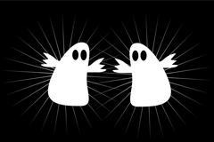 Two scary white ghosts at halloween night Stock Illustration