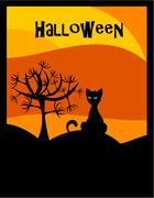 halloween background with black cat and scary tree - stock illustration