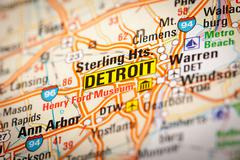 Detroit on a road map Stock Photos