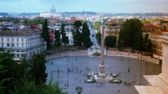 Piazza del Popolo is a large urban square in Rome Stock Footage