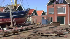Dock-yard in the centre of the village Stock Footage