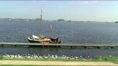 Dock-yard in the centre of the village - stock footage
