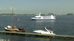 Ferry is sailing on Veerse Meer Stock Footage